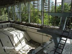 The abandoned swimming pool in the city of Pripyat, Chernobyl