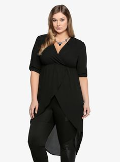 This dramatic chiffon tunic proves that hi-lo is the way to go! It has a long, alluring cut with an easy-flowing, wavy hemline. Finished with a cinched waist that creates a figure-flattering appeal and a low-cut surplice neckline that adds a sexy vibe.