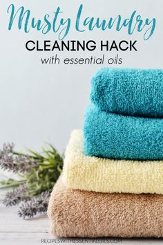 Clean Musty Laundry with this easy hack. Only 2 ingredients to transform your yucky laundry, including wet towels that were left out. Stop rewashing your laundry! Use essential oils to eliminate the musty smell. Diy Cleaning Products, Cleaning Hacks, Diy Products, Essential Oils For Laundry, Washing Towels, Laundry Hacks, Natural Cleaners, Natural Herbs, Laundry Detergent