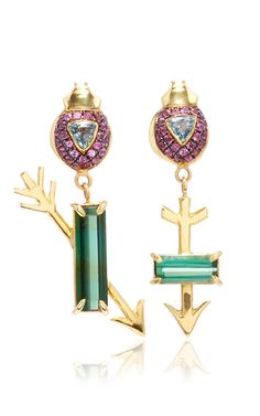 """Inspired by Mahatma Gandhi, these **Daniela Villegas** drop earrings feature exquisite sapphires and tourmaline stones, which draws inspiration from Mahatma Gandhi's quote, """"Where there is love, there is life."""""""
