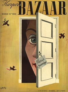 Illustration Cover by A. Cassandre French), March Harper's Bazaar, 33 x cm. Surrealism Graphic Design - Harper`s Bazaar March 1939 by CASSANDRE Vintage Magazines, Vintage Ads, Vintage Posters, Illustrations, Illustration Art, Cubist Art, Magazine Art, Magazine Covers, Retro Poster