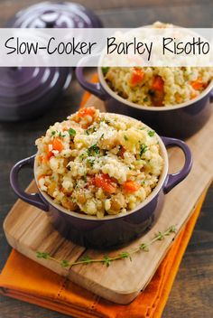 Slow-Cooker Barley and Chickpea Risotto - a big bowl of whole grains packed with chickpeas, cauliflower and vegetables. Your slow cooker does all the work for you! Use vegetable stock and #vegan parm.