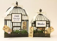 Set of 2 Wedding Birdcages for card holders and wishes