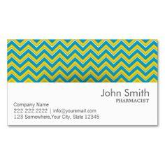Blue & Yellow Chevron Pharmacist Business Card