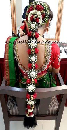Pelli poola jada Indian bridal and wedding Accessories. Bridal Hairstyle Indian Wedding, South Indian Bride Hairstyle, Bridal Hair Buns, Indian Wedding Fashion, Bridal Hairdo, Indian Wedding Hairstyles, Bridal Photoshoot, Bride Hairstyles, Cheap Wedding Flowers