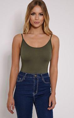 Basic Khaki Thin Strap Thong Bodysuit Image 1