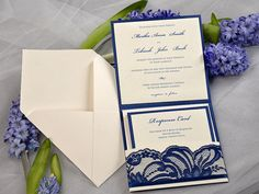 Navy lace pocket for wedding stationary to be gather in. Navy Lace Wedding Invitation Pocket Fold by 4LOVEPolkaDots