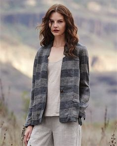 d2b897563dc78 Poetry - Checked linen jacket - In our exclusive checked linen with a fine  revere collar