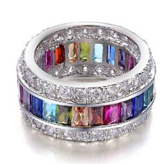 Attractive Colorful Cubic Zirconia Ring