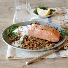Whole-Grain Recipes: Broiled Salmon with Creamy Lemon-Dill Sauce | CookingLight.com