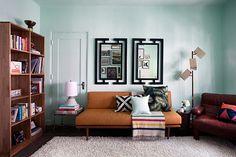 fresh and inviting workspace. Light colors work well w/ dark furniture 7 framed mirrors. Benjamin Moore Aura Interior Paint in 'Antigua Benjamin Mo...