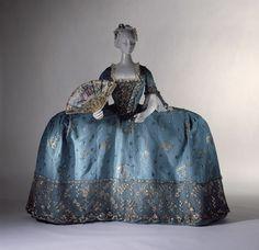 Court dress  Blue silk taffeta brocaded with silver thread  British c 1750