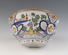 Antique Superb Large Dutch Delft Punch Bowl Chineses Ca. 1800 Marked Polychrome