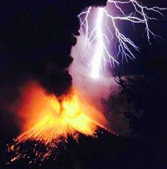 Volcano erupting attracts lightening