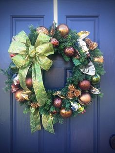 Evergreen Wreath, Christmas Wreaths, Green Brown Gold, Faux Evergreen, Holiday Door Wreaths, Holiday Decor by WreathsByRebeccaB on Etsy