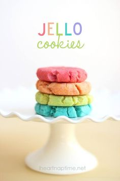 Jello Cookies -- 3.5 cups flour, 1 tsp baking powder, 1.5 cups salted butter softened, 1 cup sugar, 1 egg, 1 tsp vanilla, 4 (3 oz) pkg jello -- You can use any flavors you want