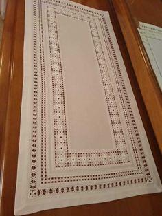 Drawn Thread, Thread Work, Cutwork Embroidery, Bargello, Craft Work, Needlework, Cross Stitch, Crafts, Linen Tablecloth