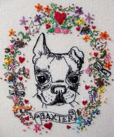This is so kitschy I have to try it. The border is an intricately embroidered floral wreath embedded with all of Baxter's favorite things :)