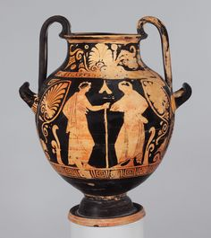 Terracotta nestoris (two-handled jar)  Attributed to the Painter of New York 52.11.2 Period: Late Classical Date: ca. 360–350 B.C. Culture: Greek, South Italian, Lucanian Medium: Terracotta; red-figure Dimensions: H. with handles 15 in. (38.1 cm)