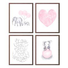 Baby Mädchen Kinderzimmer Kunst Rosa und grauen von TheDaisyFields