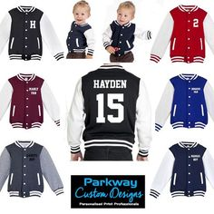 Adults Varsity Letterman Jacket - Personalised with HOOD Varsity Letterman Jackets, Varsity Cheer, Cotton Fleece, Print Jacket, Baby Size, Father And Son, Toddler Boys, New Baby Products, Kids Fashion