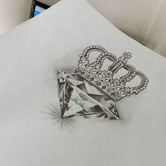 Saddam Tattoo Studio — Essa vai pra pele hoje! #diamante #coroa #desenho...