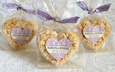 Heart-shaped rice crispy treat favors