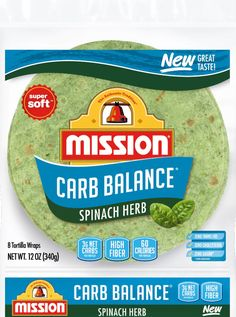 TUE Kroger - Mission Carb Balance Spinach Herb Tortilla Wraps 8 Count, 12 oz Honeymoon Packing, Low Carb Tortillas, Gram Of Sugar, Tortilla Wraps, Your Recipe, Spinach, Fiber, Tasty, Herbs