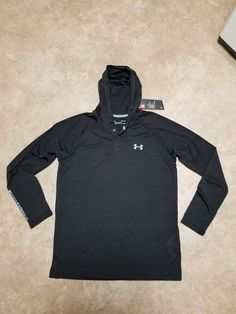 789e3a82c4b7 NWT Mens S Under Armour Htgr Black Henley Popover Pullover Hoodie Shirt  45