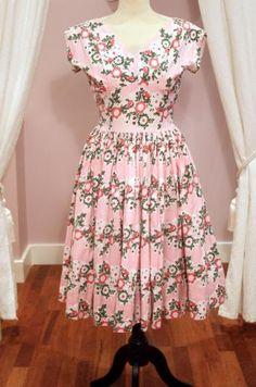 1950s Vintage Horrockses Pink Floral Cotton Day Dress