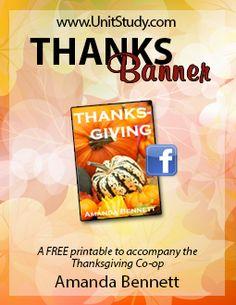 Free Thanksgiving printable - a THANKS banner and Thanksgiving calendar!