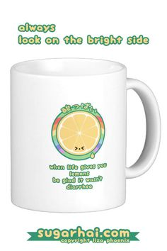 "Cute inspirational mugs with the quote ""When life hands you lemons, be glad it wasn't diarrhea."""