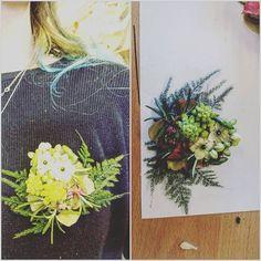 #corsages #corsage #different #fern #hydrangea #starofbethlehem #arabacum  #asparagus #rosmary #sedum #layers #florestry