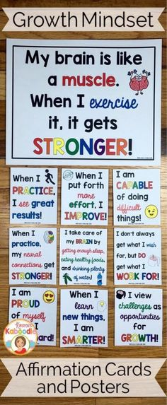 Do you teach your students about growth mindset? Are you aware of the benefits of using positive affirmations? Combine these two powerful approaches and transform student achievement! Easy to use for teachers and super beneficial for students, these 22 af Classroom Organization, Classroom Management, Visible Learning, Bulletins, E Mc2, Character Education, School Counselor, Anchor Charts, Social Skills