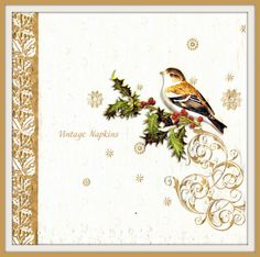 TWO Paper napkins for DECOUPAGE - Christmas Birds #Bx