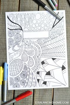 fun coloring doodle printable binder cover