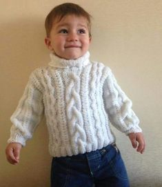 Free Knitting Patterns - White Cable Knit Sweater For Baby Boy Baby Boy Knitting Patterns, Knitting For Kids, Baby Patterns, Free Knitting, Crochet Patterns, Crochet Top Outfit, Gilet Crochet, Crochet Baby, Free Crochet
