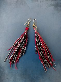 Black and red earrings, bohemian style