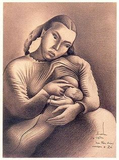 « Sarah Affonso e o filho»  (Há três dias nasceu o Zé .14-12-1934)  Lápis sobre papel.  370x272 mm   José de Almada Negreiros (1873 - 1970 )