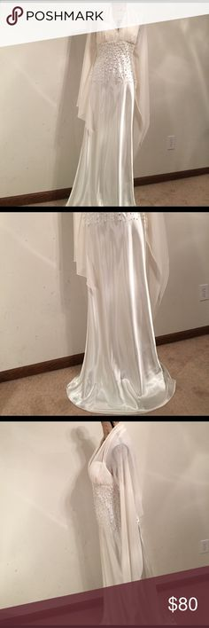 """Gown Fabulous Satin with pearls sewn on and attached sheer shawl sleeves. Perfect for a wedding gown, prom or mother of the bride or groom! Strapless across bust is 20"""", waist is 29"""", length is 61"""". Gown is in excellent condition. Dresses Wedding"""