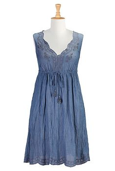 Shop boho clothing, embellished, hand crinkled and printed dresses, top and skirts, perfect for Summer, available in all shapes and sizes - Big sizes, large and tall, plus sizes, full figured, petites, missy.   eShakti.com