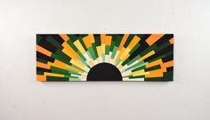 """wood wall art """"JAMAICAN SUNSET"""" 48x16, wooden wall art, wall hanging, modern art, jamaican flag, custom flag, black, gold, Jeremy Gould"""
