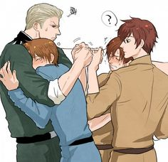 Oh-- THIS IS MY SHIPS! My ships are RIGHT HERE!! Ahhhh~ Dat episode where Italy and Romano's ahoge got stuck together? I FANGASMED SO HARD. And that episode where Romano was being a Tsundere to Spain--kyaaaaaaa!! <3 HRE x Italy is also a huge thing, but Germany x Italy... TwT