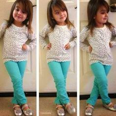 cute toddler girl outfit. love those colored skinnies with the neutral leopard top and silver shoes.