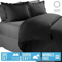 King Duvet Cover, Protects and Covers your Comforter / Duvet Insert, 100% Luxury Microfiber, Solid Black Color, 3 Piece Duvet Cover Set Includes 2 Pillow Shams – Nestl Bedding  $  35.00   Duvet Cover Sets Product Features     What is a duvet cover? A duvet cover is a comforter cover, it is something that easily slips over your comforter, duvet insert, or alternative down comforter sets. Duvet Covers are very useful, it will protect your comforter ..  http://www.duvetbedroom.com/kin..