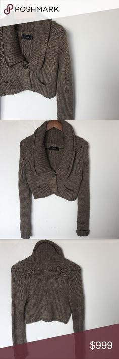 • THE LIMITED cardi • euc • cropped • taupe w/metallic threading • single button closure • 2 patch pockets • see pics for measurements The Limited Sweaters Cardigans