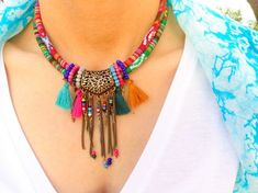 Tribal Beaded Bib Necklace wit