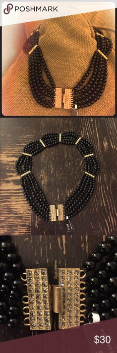 Banana Republic Black beaded choker necklace Choker necklace with 5 strands of black beads and gold and crystal accents.  Never worn, tags still on Banana Republic Jewelry Necklaces