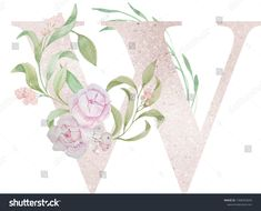 Design of the capital letter with a textural background and watercolor elements (sprigs, flowers, berries). Alphabet Capital Letters, Watercolor Background, Berries, Lettering, Texture, Creative, Illustration, Flowers, Design