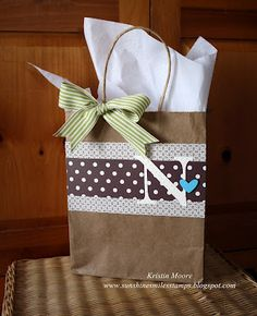 Baby Shower Gift Bag - use pink scrapbook paper and a lace or satin bow